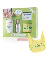 Johnson's Baby Care Collection Baby Gift Set with Organic Cotton Bib & Baby Comb 5 Pieces