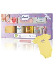 Johnson's Baby Care Collection Baby Gift Set with Organic Cotton Baby Dress 8 Pieces